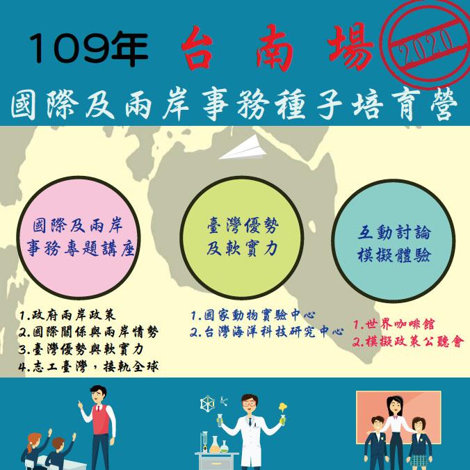 台南場-109年國際及兩岸事務種子培育營(已額滿)